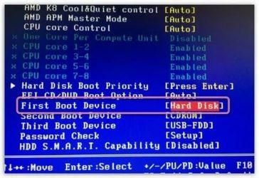 Как отформатировать диск с Windows 10 через биос?